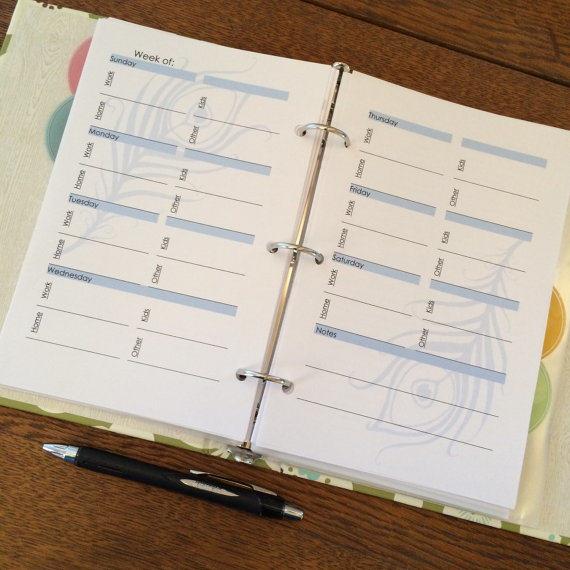 Weekly Planner 4 Topic Binder