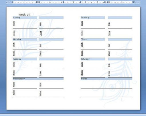 Weekly Planner 4 Topic Screen Shot