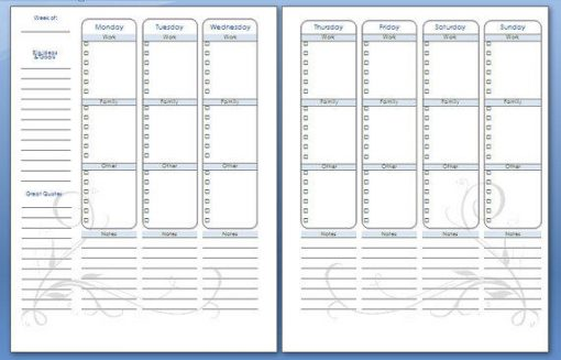 Vertical Weekly Planner 4 sections