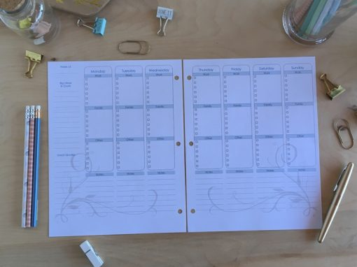 DIY weekly calendar