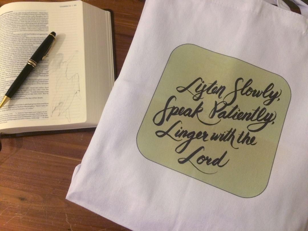 Listen Slowly Tote Bag