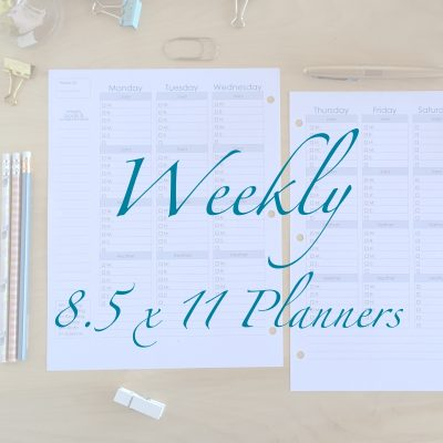 Weekly 8.5 x 11 Planners