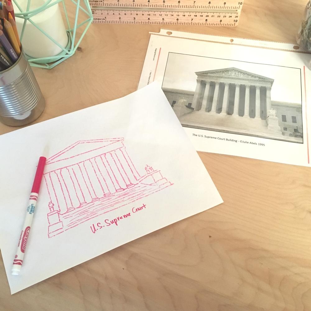 example of drawing American landmarks
