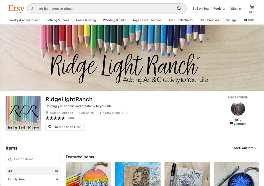 Preview of Ridge Light Ranch Etsy Shop