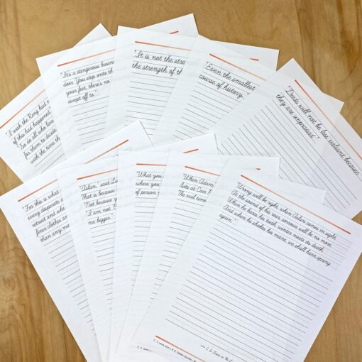 Handwriting sheets from Lewis and Tolkien Quotes