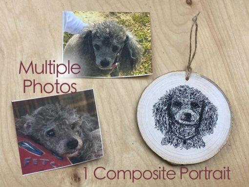 Composite Pet Portrait on wood slice
