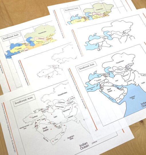 Simple maps of Southwest Asia you can trace