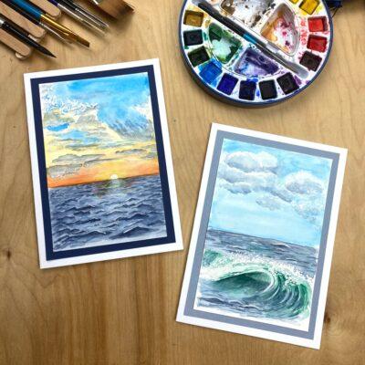 watercolor painting of the ocean